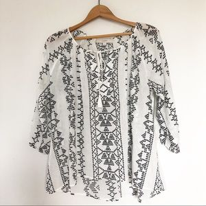 LOFT Embroidered Peasant Style Blouse with Tassel